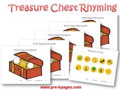 Printable Pirate Treasure Rhyming Game for #preschool and #kindergarten