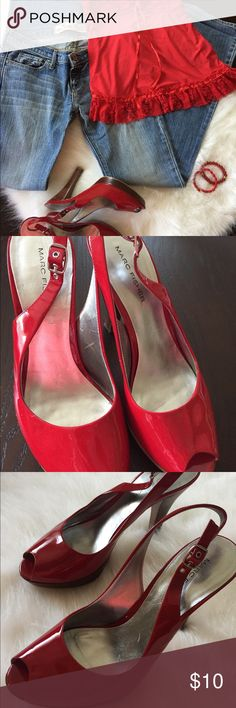 Red high heel sandals size 7 1/2 Hot sale sole is worn but still in great condition. Whole outfit for sale bundle up and save! Marc Fisher Shoes Heels