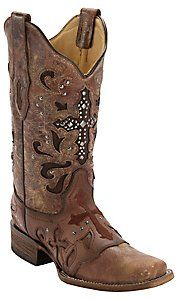 Corral® Women's Cognac Wash w/ Stud Cross Square Toe Western Boot...hopefully my next pair! LOVE THEM