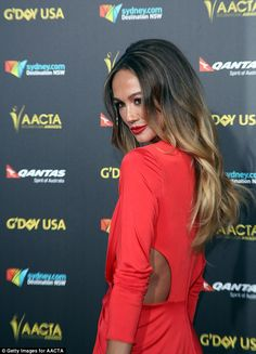 Lady in red: Sharni Vinson flaunted her trim figure in a daring dress at G'Day USA 2015 on Saturday