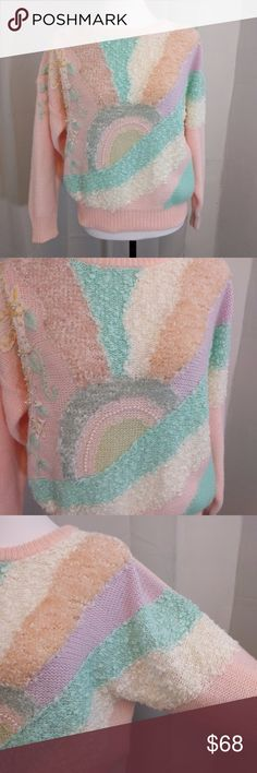 Shimmery Pastel Goth Ugly/Amazing Sweater This is the most amazingly ugly thing I've ever seen. Sickenly sweet and cutesy. Has sequins and pearls that decorate through out the rising sun pattern. It's also very shimmery but the shimmer is hard to capture on camera. It's truly a one of a kind piece. For fans of: pastel goth, twee, vintage, pastel princess, lazy oaf, gothic lolita, little space role-play, kawaii, unicorns, care bears, etc. The pictures don't do this sweater justice, it's…
