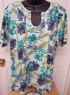 Emerald Isle Woman's Plus Light/Dark Greens/White/Black Floral Shirt Size 1X #EmeraldIsle #Blouse #Casual