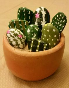 Cactus Rock Garden. Painted rock art. Clay pot craft. Image only