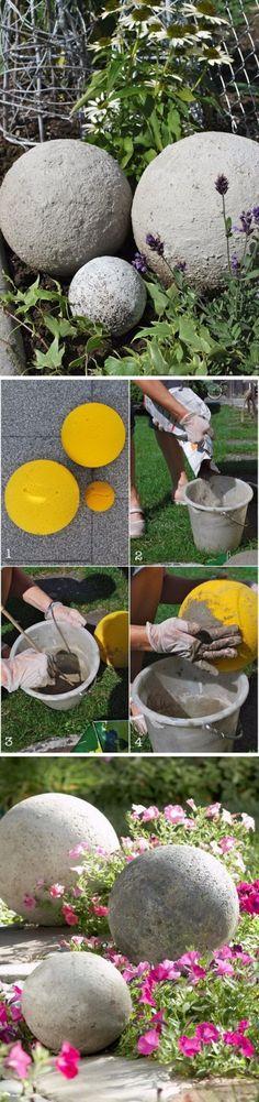 Simple and Elegant DIY Concrete Garden Balls.