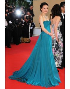 Chiffon Strapless Pleats Ruching Green Celebrity Dress on Sale at Persun.co.uk