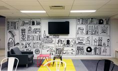 Work for BBDO's NY office renovation. The first option was approved by David Lubars, Chief Creative Officer of BBDO NY and is currently in the     office.The challenge was to design around the television in the middle of the wall. The other 15...