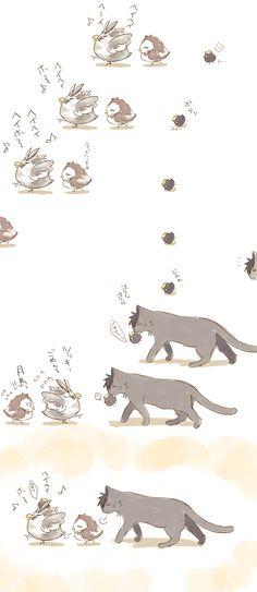 Haikyuu!! The owls Bokuto & Akaashi, the baby crow Tsukishima & the cat Kuroo. - It's so cute! *^*