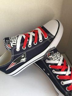 248b36f1370 New England Patriot s tennis shoe s by sportshoequeen on Etsy New England  Patriots Cheerleaders