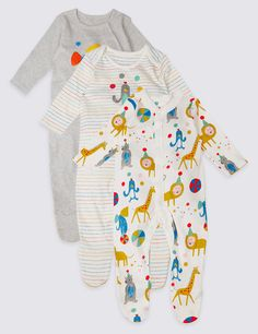 3 Pack Pure Cotton Animal Party Sleepsuits. See more at http://www.parentideal.co.uk/marks-and-spencer--baby-girls-boys-sleepsuits.html or visit click on link to visit shop and view prices. Sizes Newborn to 2 years, cotton, machine washable. Baby boys, girls and unisex designs available. #Sleepsuits #Sleepsuit #BabyNightwear #BabyClothes #Newborn #BabyBoysClothes #BabyGirlsClothes #Lion #Giraffe