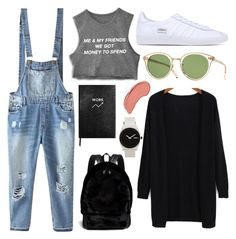 """""""#58"""" by mergitvr ❤ liked on Polyvore featuring Relaxfeel, adidas Originals, Oliver Peoples, Alexander Wang, Nixon, Sloane Stationery and NYX"""