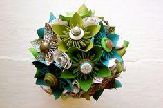 Paper Flower Bouquet  Wedding Green Blue by TheLittleRedButton, $120.00