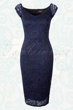 Vintage Chic Navy Lace Black Pencil Dress 100 31 16049 20150717 0006W  Kleider, Kleider Mit 3c30324971
