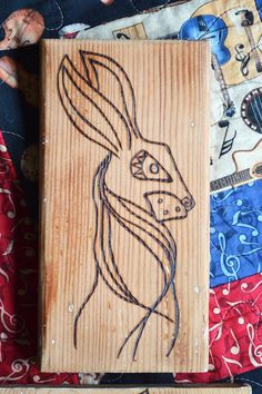 Pyrography Watership Down inspired rabbit before colour...