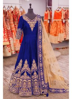 Striking Blue Colord Fully Embroidered Banglori Silk Anrkali Suit