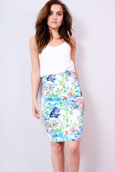 93a9b661953 Lovemystyle High Waisted Pencil Skirt In Blue Floral Print – Mod and Retro  Clothing