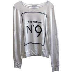 Wildfox Love Potion No 9 Baggy Beach Jumper in Clean White ($123) ❤ liked on Polyvore featuring tops, sweaters, shirts, jumpers, distressed shirt, crew-neck sweaters, ripped shirts, white long sleeve sweater and white shirt