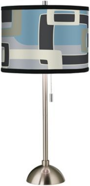 Brushed Steel Retro Lithic Rectangles Table Lamp #EuroStyleHoliday