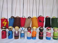 Boy Peg Doll Pouch - Doll Necklace - Take Along Dolly - Pocket Pal - Easter Basket Toy. $10.00, via Etsy.