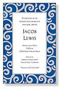 Blue and white swirl invite