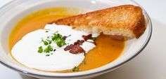W Network - Recipes - Come Dine With Me Canada - Butternut Squash and Sweet Potato Soup, Maple Chantilly Cream, Lardons and Chives: Season II - Block 3 - Episode 54
