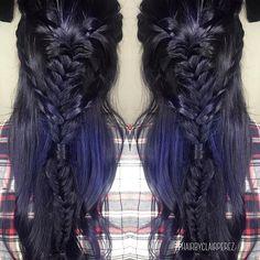 Midnight Blue☄ #hairbyclairperez #midnightbluehair #thedollhouseca #bluehair #embeemeche #olaplex #bakersfieldhairstylist #salonlife