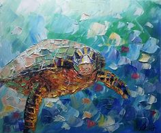 Hand Painted Sea Turtle Hand-painted Oil Canvas Painting for Children Room - Sea Turtle Painting, Sea Turtle Art, Oil Painting Texture, Oil Painting On Canvas, Knife Painting, Painting Art, Abstract Canvas, Canvas Art, Abstract Animals