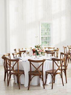 Rustic elegant barn wedding decor: http://www.stylemepretty.com/2016/10/28/minimalist-white-barn-wedding/ Photography: Jessica Gold - http://www.jessicagoldphotography.com/