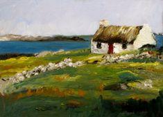 Norma Wilson Original Oil Irish Landscape Seascape Cottage, painting by artist Norma Wilson Landscape Wallpaper, Watercolor Landscape, Landscape Paintings, Watercolor Paintings, Canvas Paintings, Irish Landscape, Ireland Landscape, Simple Oil Painting, Irish Cottage
