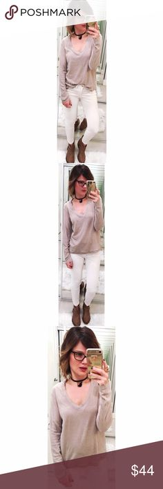 ➡James Perse Cream Long Sleeve Tee⬅ A classic layering tee from James Perse, styled with a V neckline and long sleeves. Timeless style and quality lasting jersey material. Wash cold. Size 2=medium. James Perse Tops Tees - Long Sleeve