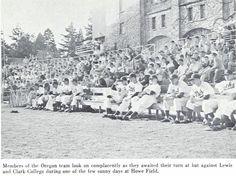 1955 Oregon baseball team at Howe Field vs. Lewis & Clark. From the 1956 Oregana (University of Oregon yearbook). www.CampusAttic.com