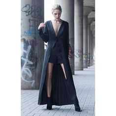 Black maxi dress with high waist short  ||  The black maxi shirt dress is everything you need in a dress. The dress has a long cape with one button in the middle and a dramatic open front slit. It's paire https://www.mymallmetro.com/products/black-maxi-dress-with-high-waist-short?utm_campaign=crowdfire&utm_content=crowdfire&utm_medium=social&utm_source=pinterest