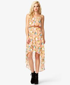 Floral High-Low Dress w/ Braided Belt | FOREVER21 - 2035815330