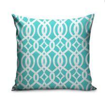 Aqua Blue Trellis Monogram Pillow | Carolina Clover