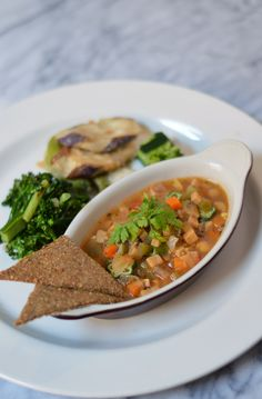 Chef Hideyo Yamada's July 25, 2014 menu: Entree - Cajun Spiced Chickpea Gumbo with Brown Rice and Garden Vegetables, Chia Seed Cracker, Grilled Broccolini, Eggplant and Shishito Pepper Tempura with Horseradish Sauce, Cucumber Press Salad