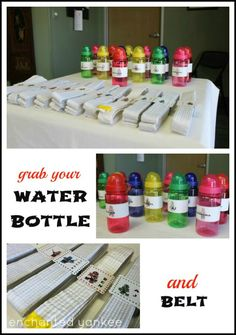 Power Rangers Birthday Party -- Martial Arts Belts and Bottles