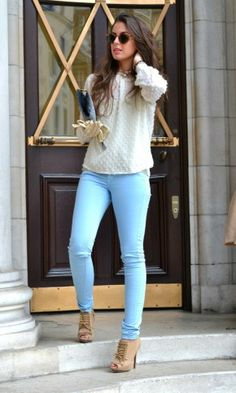 seems pastel skinny jeans are the latest for spring #FashionInspiration