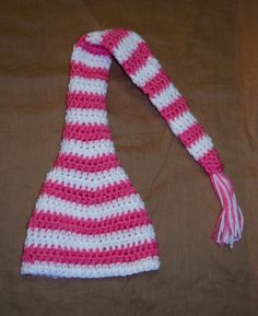 pink and white stocking cap I crocheted