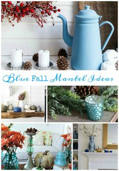 20  Blue Fall Home Decor Ideas. Everything from tablescapes, wreaths to pumpkin crafts. #Falldecor #whatmeeganmakes #fall #pumpkins #DIY #homedecor