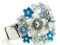 BLUE & WHITE BUTTERFLY FLOWER METAL EPOXY CRYSTAL STONE BRACELET