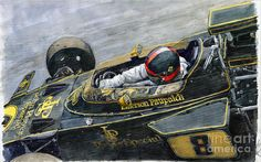Gallery of artist Yuriy Shevchuk: 1972 Monaco GP Emerson Fittipaldi D F1 Lotus, Lotus Car, Automobile, Car Drawings, Automotive Art, Sports Art, Vintage Racing, Art Pages, Paint Designs