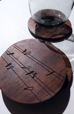Coasters, Engraved Wood Coasters, Birds on Wire  set by GrainDEEP