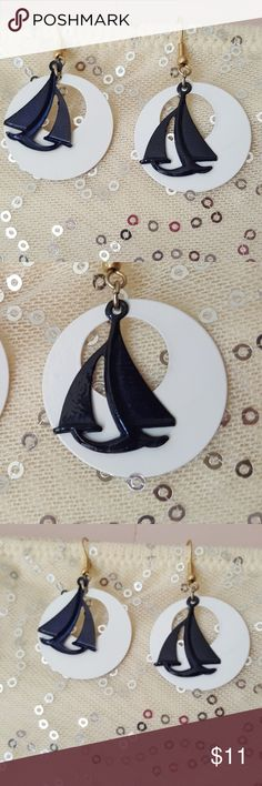 Vintage sail boat earrings blue and white These vintage silver earrings are so pretty the white resembles a Moon or Sun with the sailboat in front of it they look like they're Avon but I don't see Avon on them they are about the size of a quarter  Pre owned condition *******All items are in pre owned condition, Nothing, unless noted , is brand new **** please ask questionsFor sale in my posh closet  LINK IN MY BIO   www.poshmark.com/closet/poshmarkmentors  #poshmarkseller #collections…
