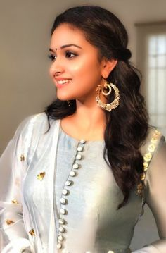 Keerthy Suresh Latest Photos-012 - south celebrities Churidar Neck Designs, Kurta Neck Design, Kurta Designs Women, Salwar Designs, Kurti Designs Party Wear, Sleeves Designs For Dresses, Neck Designs For Suits, Dress Neck Designs, Blouse Designs