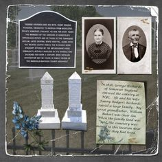 Interesting heritage scrapbook layout - never thought to include picture of the graves. Heritage Scrapbook Pages, Vintage Scrapbook, Scrapbook Cards, Scrapbooking Layouts, Digital Scrapbooking, Family History Book, Family Roots, Family Genealogy, Album Photo