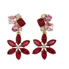 Oscar de la Renta Ruby Crystal Flower Earrings ($395) ❤ liked on Polyvore featuring jewelry, earrings, earring jewelry, crystal flower earrings, ruby earrings, clip on earrings and nickel free earrings