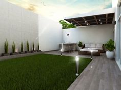 34 Fascinating Backyard Terrace Design Ideas - Backyard landscape design takes the ordinary outdoor space behind your home and transforms it into a fabulous, natural living area that enhances your . Modern Backyard, Terrace Design, House Exterior, Patio Design, Exterior Design, Outdoor Patio Decor, Backyard Landscaping Designs, Outdoor Design