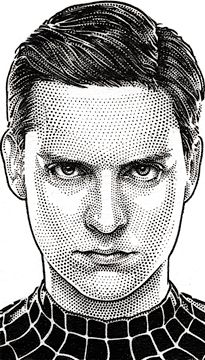 Wall Street Journal Hedcut Portfolio by acclaimed illustrator and portrait artist Randy Glass including celebrities, pen & ink, stipple, portraits, pointillism. Spiderman Drawing, Spiderman Art, Pencil Art Drawings, Art Sketches, Heroine Marvel, Stippling Art, Marvel Drawings, Celebrity Drawings, Portrait Illustration