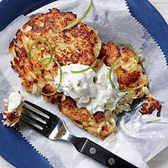 Crisp Cauliflower Fritters Recipe Appetizers with cauliflower florets, onion, whole wheat flour, garlic, kosher salt, black pepper, lemon rind, brown hash potato, white cheddar cheese, large eggs, olive oil, greek yogurt, green onions, mayonnaise, fresh lemon juice