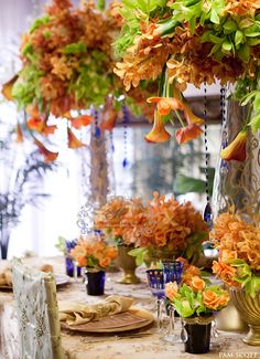 orange and blue flower arrangement | orange and blue wedding flowers