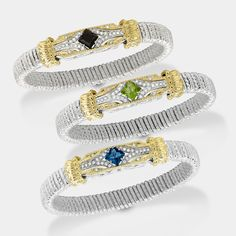 """Say """"Hello"""" to these colorful new additions to the StarBurst Collection! Each bracelet is adorned with 21 points of diamonds, and has a center stone of BlackOnyx, Peridot, or LondonBlueTopaz. VAHAN."""